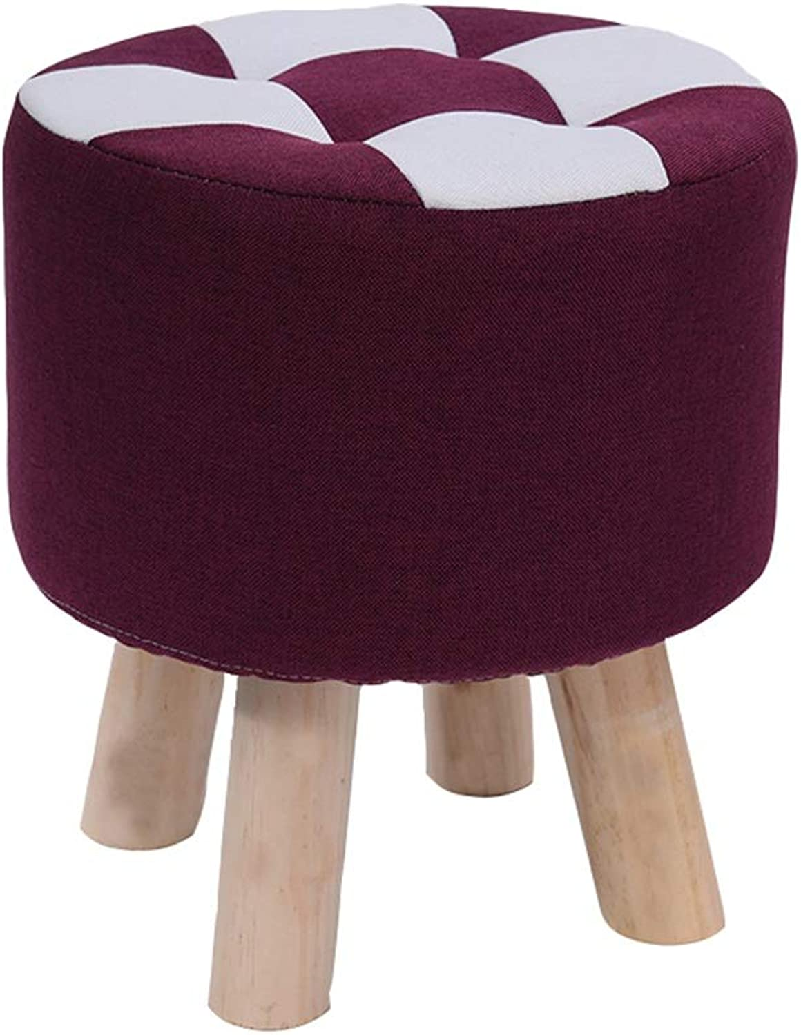XRXY Footstool, Small Bench, Living Room Leisure Sofa Stool, Solid Wood Low Stool, Cloth Foyer Changing His shoes Stool, 28 35 cm Height, 9 colors (color   Purple, Size   31  35cm)