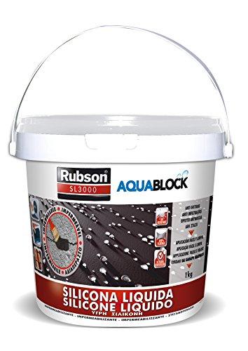 Rubson Aquablock SL3000 Silicona Líquida blanca, impermeabilizante líquido para prevenir y reparar goteras y humedades, silicona elástica con tecnología Silicotec, 1 x 1 kg