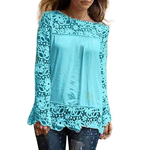 ESAILQ Mode Damen Langarm Shirt Casual Spitze Bluse lose Baumwolle (6XL, Hellblau-1)