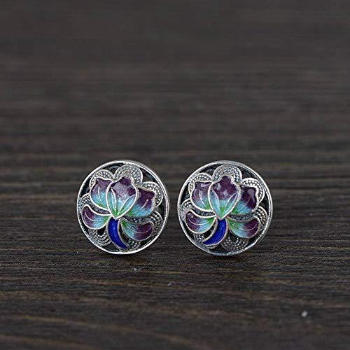 ESCYQ Women Earrings,925 Sterling Silver Peony Flower Color Shape Design Thai Silver Ear Studs for Women Earrings Jewelry Vintage Creative Simple Festival Dinner Party Gift