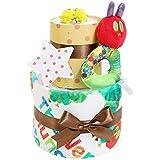 はらぺこあおむし おむつケーキ 出産祝い 名入れ刺繍 2段 オムツケーキ 女の子 男の子 男女兼用 名前入り ERIC CARLE エリックカール パンパーステープタイプMサイズ