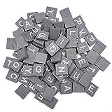 HEALLILY 100 piezas de letras de madera azulejos de alfabeto letras mayúsculas para niños manualidades diy colgantes ortografía juguetes educativos (gris)