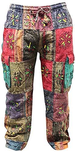 SHOPOHOLIC FASHION Unisex Traditionelle Symbole Hippie Boho Hose Festival Hose - Mehrfarbig, 3XL
