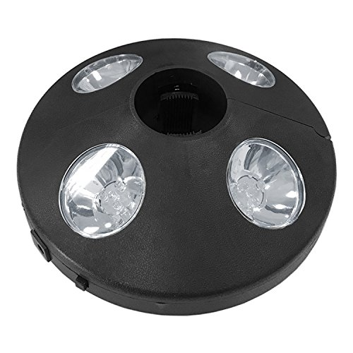 Mojawo LED Sonnenschirmbeleuchtung Sonnenschirmlampe Beleuchtung Lampe Licht Batterie schwarz Ø20cm
