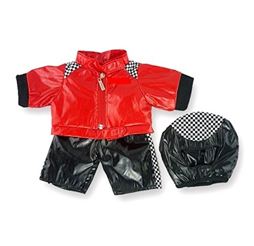 Build your Bears Wardrobe Construire Votre Ours Armoire 38 Moteur Biker Costume Ours en Peluche vêtements pour Construction Ours Teddy (Rouge/Noir)