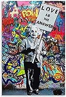 愛は答えですストリートアート落書きの装飾ポスターキャンバスの壁の芸術のリビングルームの装飾の写真をキャンバスに描く-50x75CMフレームレス
