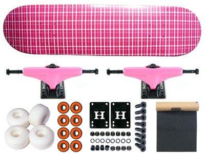 Moose Plaid Pink Skateboard Komplett Skateboard 7.5