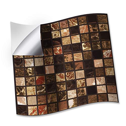 WALPLUS 15 cm (6 pulgadas) @ 24 piezas de azulejos de mármol marrón metálico adhesivo para azulejos de pared de azulejos de la cocina y el baño