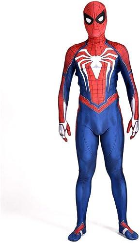 POIUYT Niño Adulto Hombre Cosplay Iron Spider-Man Halloween Avengers Lycra Elástica Estampado 3D con Máscara Extraíble Conjunto De Traje para,Adult-M(150-160cm)