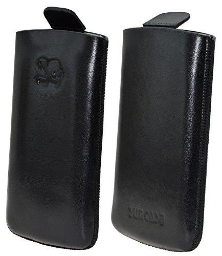 Original Suncase Etui Tasche für / Bea-fon SL340 / Beafon SL340i / Leder Etui Handytasche Ledertasche Schutzhülle Hülle Hülle Lasche *mit Rückzugfunktion* schwarz