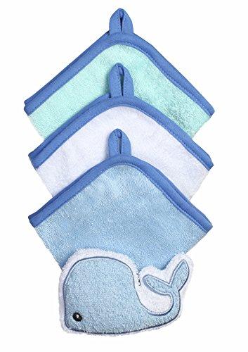 Baby-Waschlappen mit Schwamm - Set 3-teilig aud Velour 100% Baumwolle 7311 (Minze / Elefant)