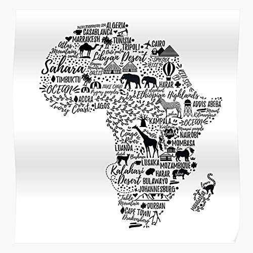 MADEWELL Vector Africa Lion Morocco African South Jungle Map the best and newest poster for wall art home decor room