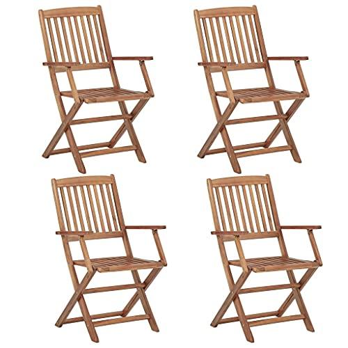 vidaXL 4X Bois dAcacia Solide Chaises Pliables dExtérieur Fauteuils de Salle à Manger de Jardin Chaises de Patio Meubles de Terrasse