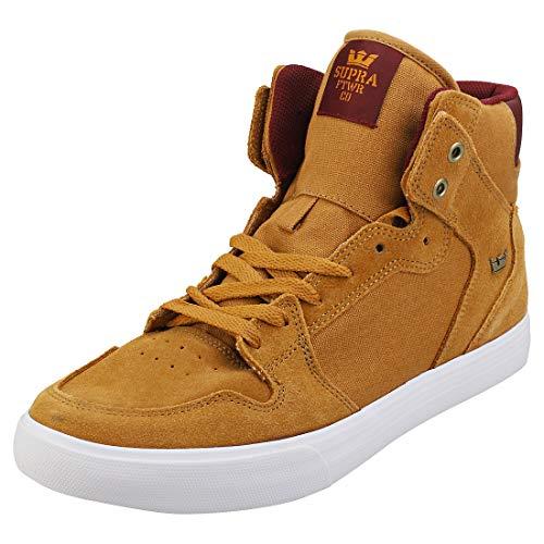 Supra Skateboarding Shoes, Brown Tan Wine White M 258, 5 US Unisex Big Kid