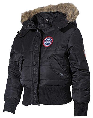 Kinder US N2B Polarjacke Jacke mit Fellkragen schwarz S-XXL (122-176) 146/152,Schwarz