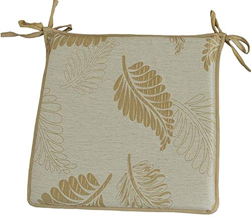 CnA Stores Set of 4 Beautiful Sleepy Leaf Reversible Kitchen Dining Garden Chair Cushion Seat Pads With Ties Zipped Removable Covers (Gold)