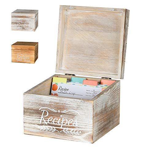Pinelive TriSlot Recipe Box with Cards and Dividers - Rustic Wood Recipe Box with 76 Blank Recipe Cards 4x6, 8x Dividers and Measurements. For Kitchen, or Recipe Cards for Bridal Shower Gift