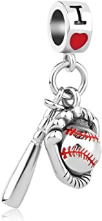 Baseball I Love Sports Dangle Charms Beads for Bracelets