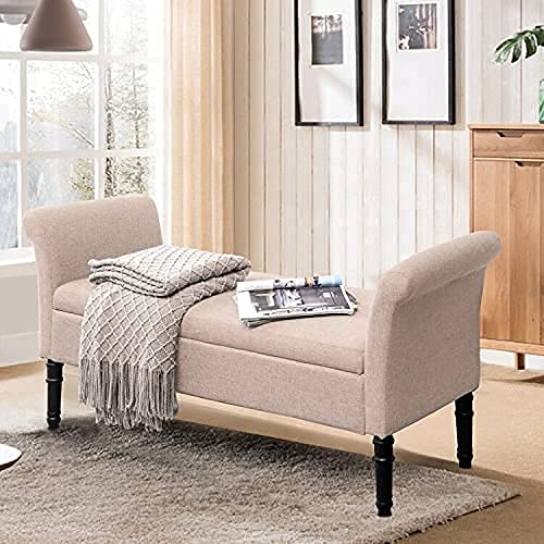 Modern Fabric Storage Bench with Arms Button Tufted Footstool Ottoman Bench for Living Room Bedroom (Tan)