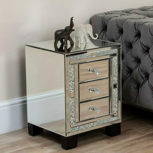 Mirrored Crushed Diamond Glitz Furniture Crush Diamante Jewelled Mirror Unit Storage Cabinet 3 Bedside Drawers Silver Black for Living Room Bedroom Hallway Dressing Room (Silver Diamond Bedside Table)