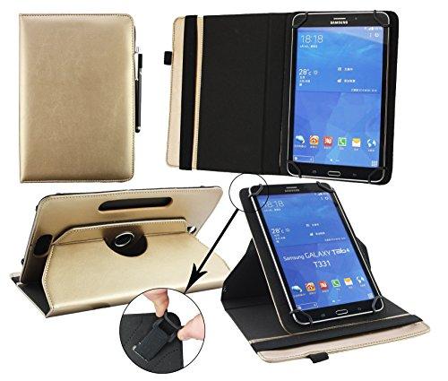 Emartbuy® Artizlee ATL-16 7 Zoll Tablet PC Universal (7-8 Zoll) Metallic Gold Premium PU Leder 360GradrotierendeStandFolioGeldbörseTascheHülle + Schwarz Eingabestift