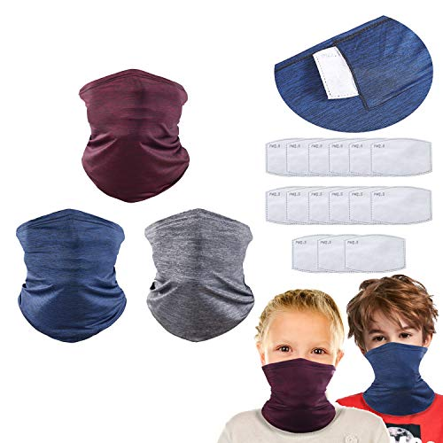 Kids Neck Gaiter for 6-14 Years Olds with Carbon Filter, UV Protection Face Cover for Hot Summer Cycling Hiking Sport Outdoor (ice silk cooling 3 pack(3 color))
