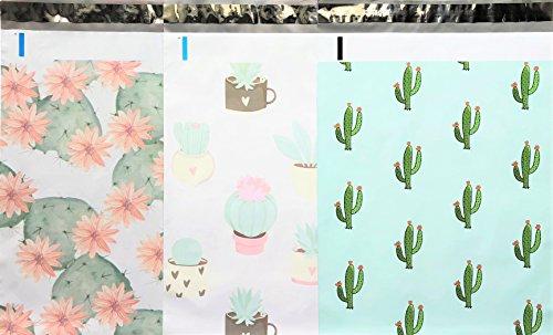 Designer Poly Mailers 10x13 : Cactus Mix ~ Flowering Cactus, Succulent, Mint Cactus; Printed Self Sealing Shipping Poly Envelopes Bag (30 Pcs Cactus Mix)