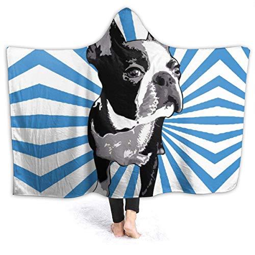 Manta con Capucha usable Boston Terrier Perro con Capucha Abrigo Abrigo Capa Capa Sudadera Juventud Durable TV Películas Chal Franela con Mangas
