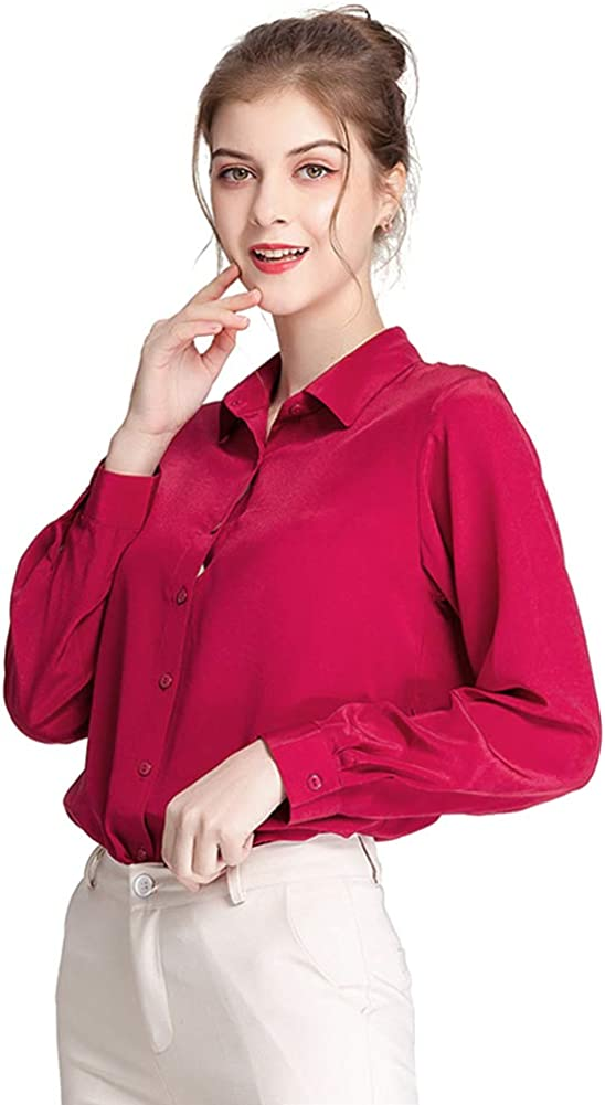 Zylioo Women's 100% Mulberry Silk Blouse 16 Momme Long Sleeve Button Down Shirts Elegant Charmeuse Silk Tops