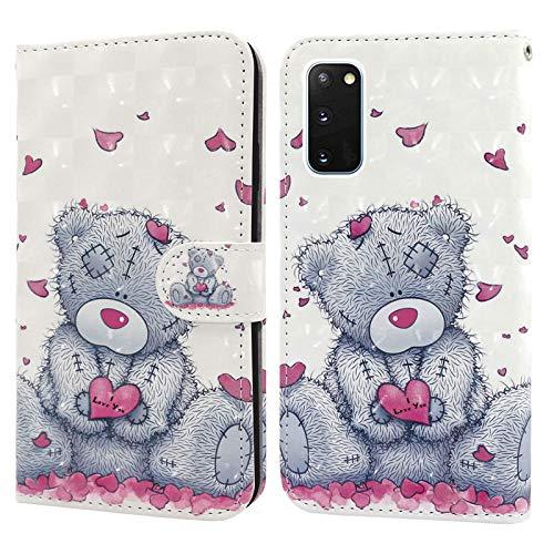 Ailisi Samsung Galaxy S20 FE 5G Hülle, Teddy Bear 3D Muster Handyhülle Schutzhülle PU Leder Wallet Hülle Flip Hülle Klapphüllen Brieftasche Ledertasche Tasche Etui im Bookstyle
