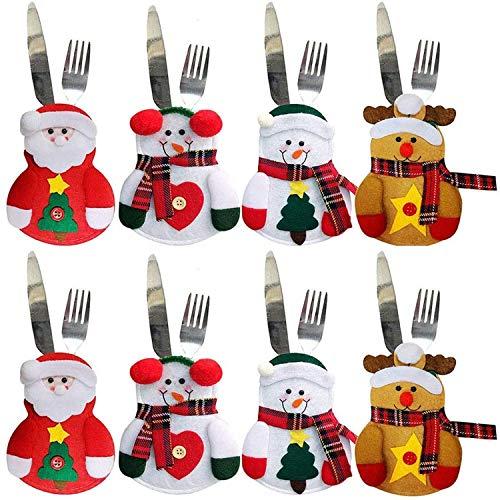 Wanxida 8pcs Portaposate Costume da Babbo Natale, Natale, Decorazione per Tavolo Quattro Design Babbo Natale, Renne, Pupazzo