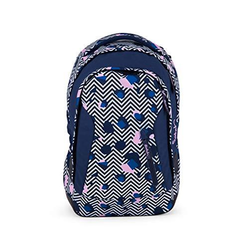 Satch Sleek Stoney Mony, ergonomischer Schulrucksack, 24 Liter, extra schlank, Schwarz/Weiß/Pink