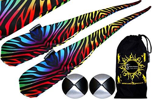 Flames N Games Funky® Pro Socken-Poi (ZEBBRA) Sock Poi Set inkl. 2X Beanbags Bälle & Reisetasche. Swinging Poi und Spinning Pois! Pois für Anfänger und Profis.