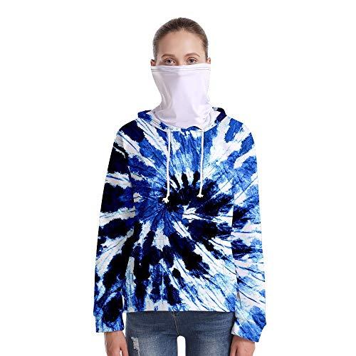 T-Shirt À Manches Longues,Casual Long Sleeve Loose Imprimé Bleu Blanc Tourbillon Unisex Cordes Pull Tops Chemisier avec Écharpe Hommes Hommes Automne Hiver Pullover Sweatshirt, M