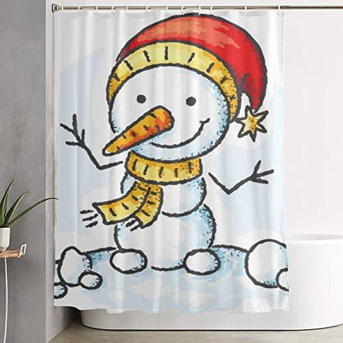 GKGYGZL Cortina de Ducha, muñeco de Nieve con Gorro de Santa, Cortina de baño Cortina de baño Lavable Tela de poliéster con 12 Ganchos de plástico 180x180cm