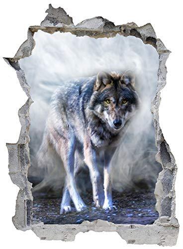 Wolf Nebel Tier Natur Wandtattoo Wandsticker Wandaufkleber E0642 Größe 46 cm x 62 cm