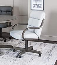 Caster Chair Company Grayson Swivel Tilt Caster Arm Chair in Light Gray Bonded Leather