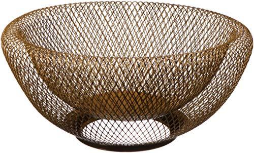 Cq - Cesta de fruta de alambre de metal para pan, frutas, aperitivos, dulces, artículos para el hogar. tazón de frutas para decorar salón, cocina, encimera, color dorado