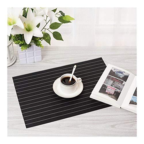 KangJiaoNanG Basics voor de vakantie Solid Color Striped Placemat milieuvriendelijke isolatie Wasbaar Western Food Mat Placemat Set van 6 Place Mats