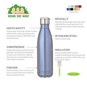 King do way Bouteille isotherme en acier inoxydable à double paroi sans BPA 500 ml