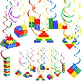 30 Pieces Colorful Building Block Hanging Swirl Decoration Set, Include 24 Pieces 8 Styles Building Blocks with Single Hanging Swirl and 6 Pieces Double Hanging Swirl for Birthday Baby Shower Parties