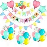 MMTX Decoraciones con globos de fiesta de feliz cumpleaños, pancarta de cumpleaños con globo de corazón para bodas para niños, cumpleaños Fiesta de bienvenida al bebé Decoraciones