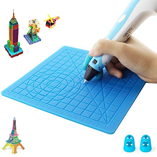 Sinwind Tappetino in Silicone 3D, Stampa 3D Modello di Disegno a Penna Tappetino in Silicone Modello di Disegno per Bambini con 2 Protezioni per Dita per Bambini e Principianti