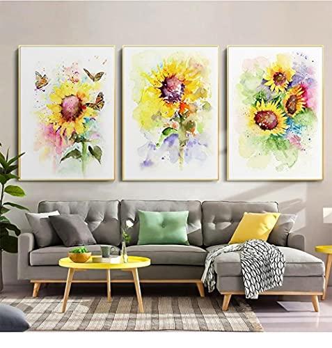SNGTOW Pintura de Lienzo Moderna nórdica Plantas de Acuarela Girasoles y Mariposas Carteles e Impresiones Decoración para el hogar Murales   50x70cmx3 Sin Marco