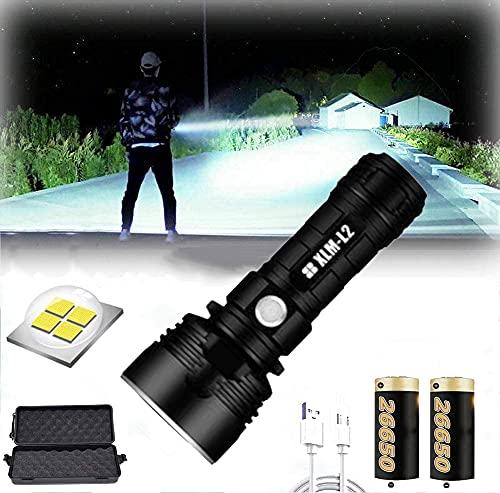 Linterna LED impermeable de alta potencia de 30000-100000 lúmenes, Ultra brillante de 3 modos Linterna LED XLM-P70, Linterna recargable USB (25W XLM-L2, Batería de litio doble)