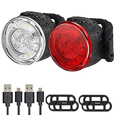 USB Rechargeable LED Bike Lights Set, Ultra Bright Front and Back Rear Bicycle Light, IPX5 Waterproof Mountain Road Cycle Headlight and Taillight Set for Men Women Kids (6 Modes,2 Cables,4 Straps)