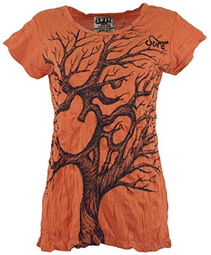 Guru-Shop Sure T-Shirt Om Tree, Damen, Rostorange, Baumwolle, Size:S (36), Bedrucktes Shirt Alternative Bekleidung