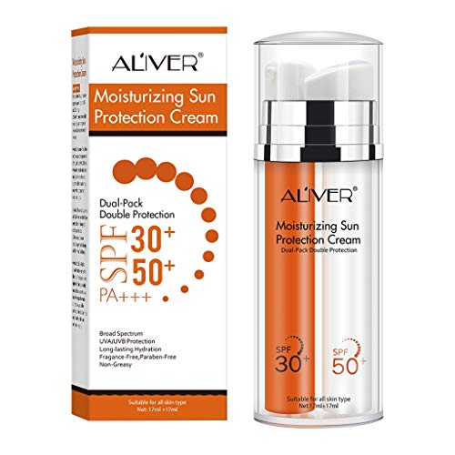 Protector solar de doble tubo protector solar y protección UV SPF50 + SPF30 protector solar UV doble sin aceite crema facial hidratante para hombres y mujeres (a)