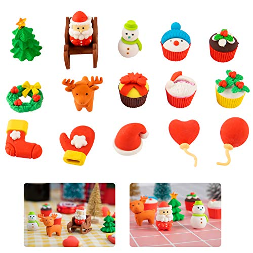 Biubee 32 Sets Christmas Erasers- 3D Christmas Puzzle Erasers Detachable Stationery Rubber Eraser for Christmas Party Favors, Children Study Supplies, School Prizes, Goodies Bag Fillers