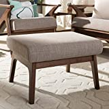 Baxton Studio Bianca Mid-Century Wood Ottoman Mid-Century/Light Grey/Walnut Brown/Fabric Polyester 100%'/Rubber Wood/